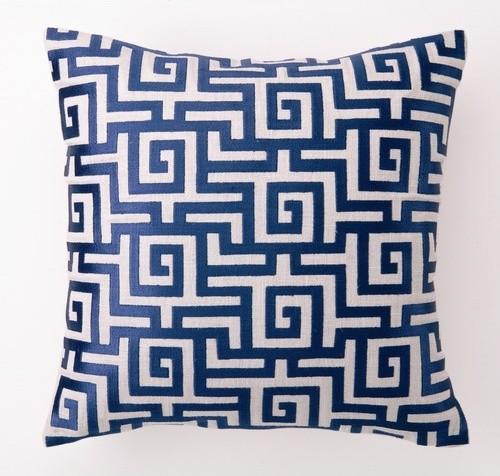 Greek Key Down-Filled Embroidered Pillow modern-decorative-pillows