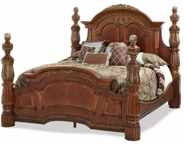Villa valencia king poster bed traditional beds by for Traditional four poster beds