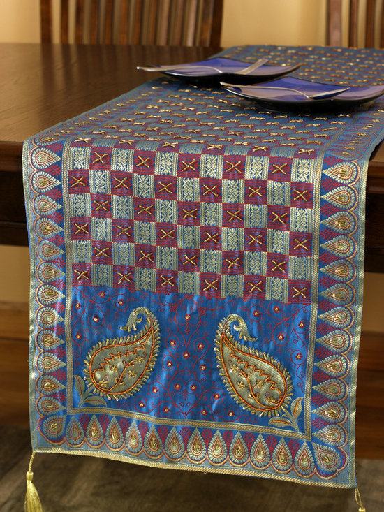 """Elegant Table Runners - One-of-a-kind table runner """"Golden Blueberry"""". Very unique hand embroidered pattern with beautiful hand crafted design. Blue"""