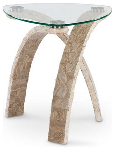 Magnussen Cascade Stone And Glass Pie Shaped End Table In Natural And Glass Modern Side