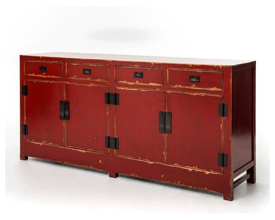 Four Hands - Shanxi Sideboard 4 Door/4 Drawer, Red - Representing the best of Chinese antique reproductions, each piece in the Zhang Collection preserves venerable patterns and exotic frames that have been adapted into multi-functional accent items for today's household needs. Hand-painted and distressed, each of these designs is constructed using woods reclaimed from demolished buildings, married with traditional Chinese joinery. Crackled painted finishes and layers of lacquer impart an authentically aged feel.