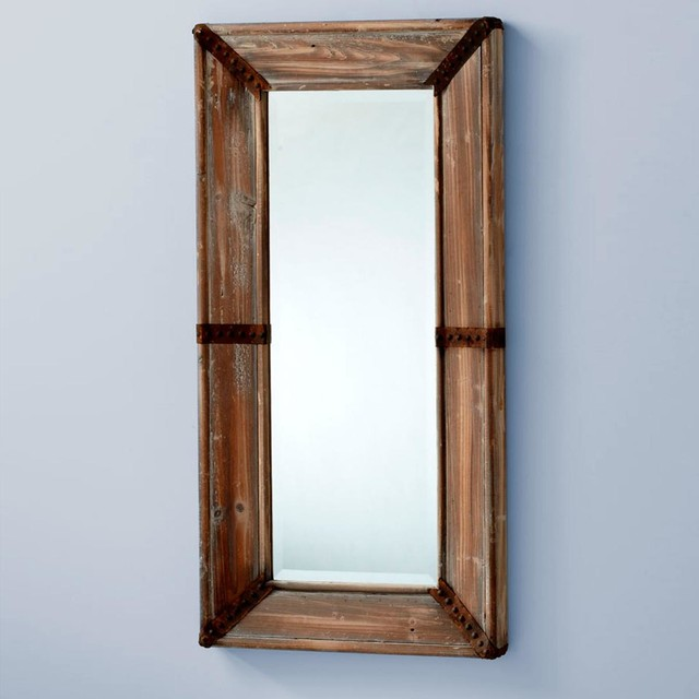 Wood and Rusty Hinge Mirror - Lamp Shades - by Shades of Light