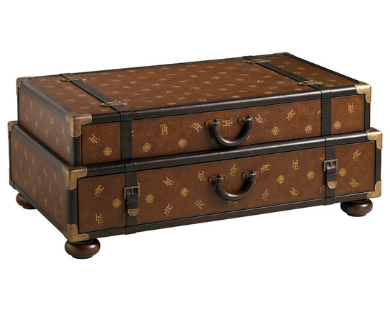 Lexington - Lexington Henry Link Trading Co. Steamer Trunk Cocktail Table 4011-609 - This leather-clad stacking trunk cocktail table bears the signature Henry Link monogram and authentic leather stitching on the two drawer handles and leather trim. The drawer interiors are lined with a custom passport design, and all decorative hardware is solid brass.