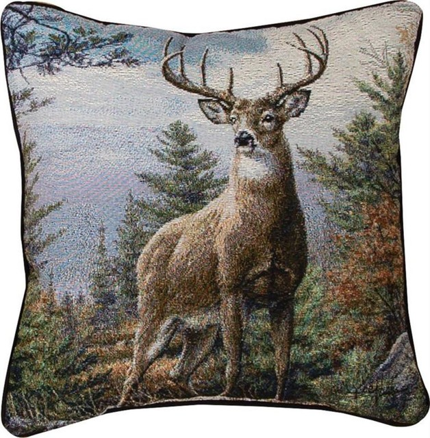 Throw Pillows Deer : Pair of Standing Proud Tapestry Whitetail Deer Throw Pillows 17 Inch - Contemporary ...