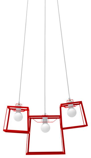 Three Piece Frame Cluster, Tomato contemporary-pendant-lighting