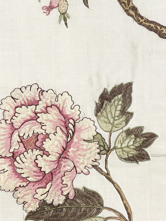 Pink Embroidered Elegant Floral Dupioni Silk Custom Made Curtains - Beautiful hibiscus flower with brunches and leaves climb up to each panel. These panel brings sophistication to any room. Panel is woven from silk and add sumptuous taste.