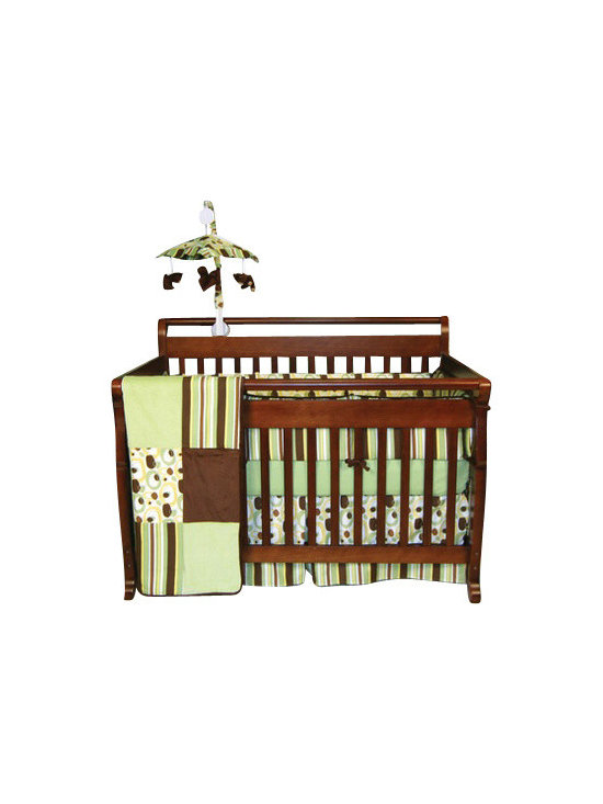 Trend Lab - Giggles - Crib Bedding Set (4-Piece) - Sweet but not too cutesy, this modern crib bedding set will give your baby sweet dreams while also pleasing your design aesthetic. The versatile colors of sage green, brown and yellow combine in a pleasing palette that is unisex and modern. This set includes everything you need for your baby's crib — coverlet, 4-piece slipcover bumper, skirt and sheet.