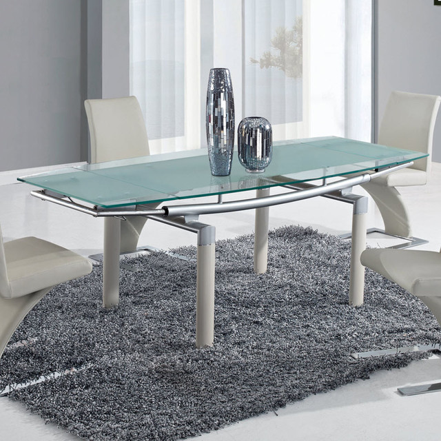 Global furniture usa 88dt rectangular frosted glass dining table w beige legs contemporary - Frosted glass dining tables ...