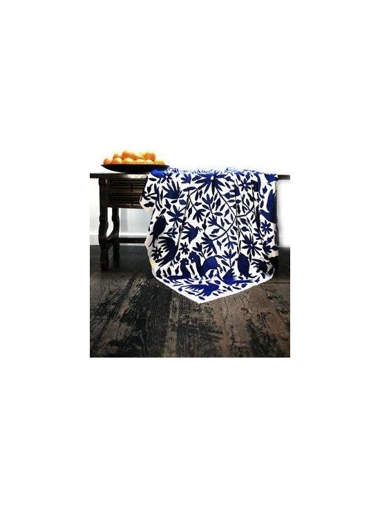 mexican otomi fabric - indigo mexican coverlet