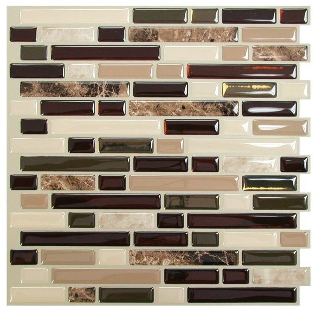 Smart tiles bellagio mosaik peel and stick wall tile for Autocollant mural walmart
