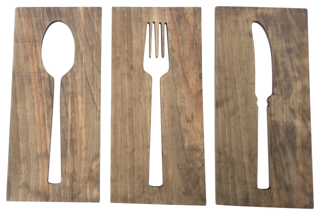 Wood Wall Decor For Kitchen : Kitchen art fork spoon knife wooden plaques wall decor