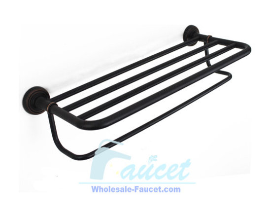 "Towel bar - ●24"" Oil Rubbed Bronze Bathroom Towel Bar With Shelf K-101"