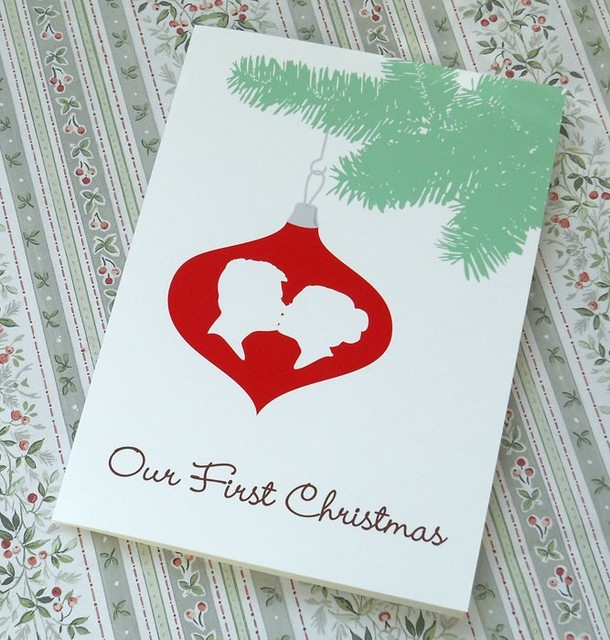 Custom Silhouette First Christmas Together Card Eclectic