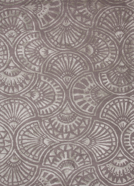 Transitional Geometric Pattern Gray /Black Wool/Silk Tufted Rug - BL97 contemporary-area-rugs