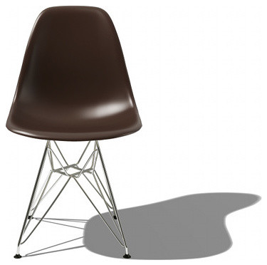 Eames Molded Plastic Side Chair w/Eiffel Base | YLiving modern dining chairs and benches