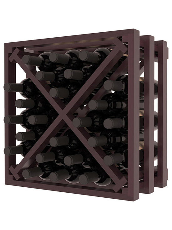 Lattice Stacking X Wine Cube in Redwood with Burgundy Stain + Satin Finish - Designed to stack one on top of the other for space-saving wine storage our stacking cubes are ideal for an expanding collection. Use as a stand alone rack in your kitchen or living space or pair with the 16-Bottle Cubicle Wine Rack and/or the Stemware Rack Cube for flexible storage.