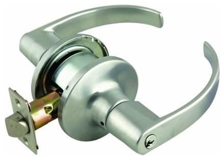 C-Series 2-Way Latch Entry Door Handle, Adjustable Backset, Satin Chrome modern-door-hardware