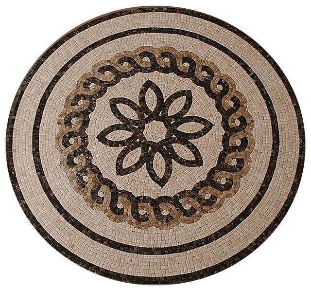 Stone Medallion Inlays : Quot mosaic floor medallion marble tumbled rustic