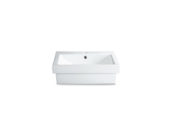 Rectangle White Vessel Sink with Single Faucet Hole -