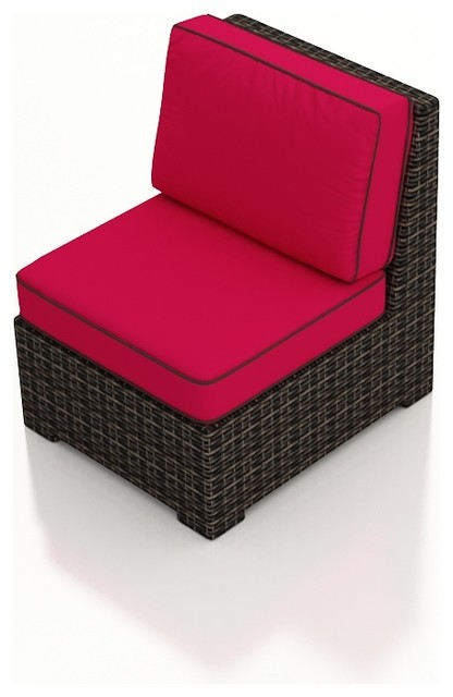 Capistrano Outdoor Wicker Sectional Middle, Flagship Ruby Cushions modern-outdoor-sofas