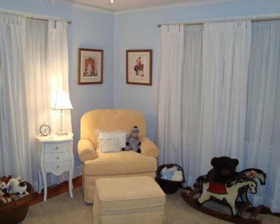 Cozy nursery corner with glider, antique style stand, vintage prints - Antique rocking horse, vintage framed prints, white bombe nightstand, antique baskets...