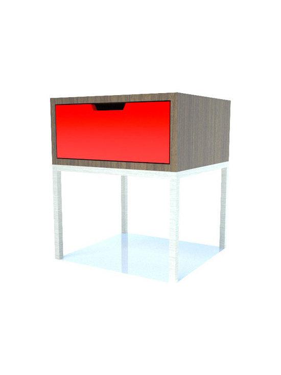 EK Living Storage End Table, Dark Oak/Painted Orange -