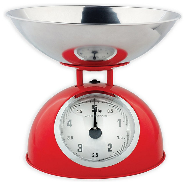 Red Retro Mechanical Kitchen Food Scale traditional-kitchen-scales