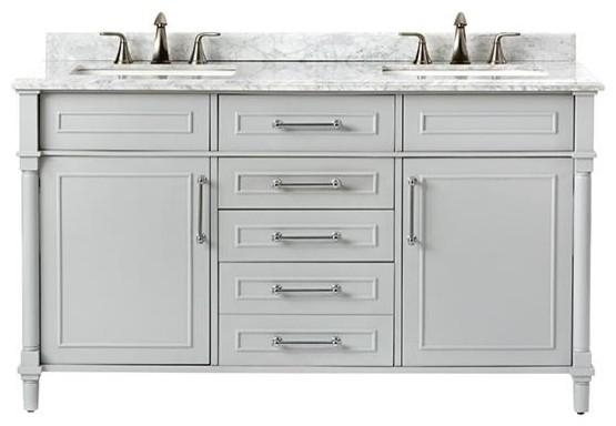 Aberdeen Double Vanity 34 5 Hx60 Wx22 D Dove Grey Traditional Bathroom Vanities And Sink