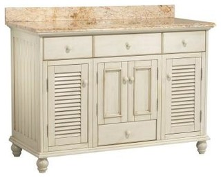 Cottage Vanity, Antique White and Vanity Top with Stone Effects, Tuscan Sun - Traditional ...