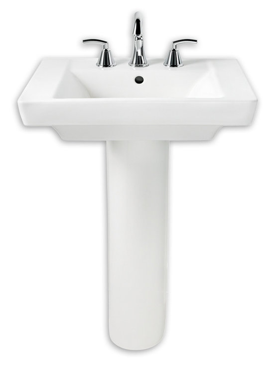 "Boulevard Pedestal Sink - A bold, sophisticated classic. This striking rectangular pedestal sink from the Boulevard™ Suite brings a touch of uptown flair to any bathroom. Its ergonomic Right Height® design helps prevent back strain. Made from high-gloss, stain-resistant Vitreous China. Available with a single hole or 4"" or 8"" center faucet holes."