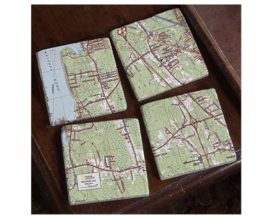 ''My Town'' TOPO! Map Coasters, Set of 4 -