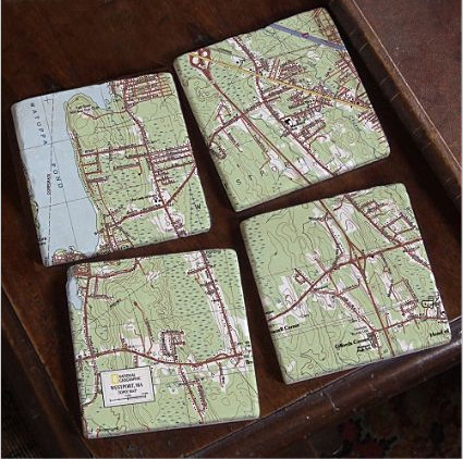 My Town TOPO! Map Coasters, Set of 4 contemporary barware
