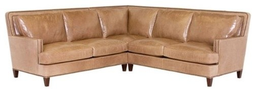 Desmond Designer Style Leather Sectional w/Nailhead contemporary sectional sofas