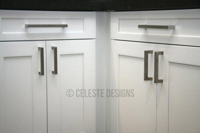 Square Bar Pulls by Celeste Designs on White Kitchen Cabinets - Contemporary - Cabinet And ...