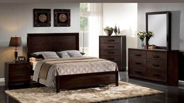 Acme furniture ishanan dark merlot 5 piece queen bedroom for Dark bedroom furniture decorating ideas