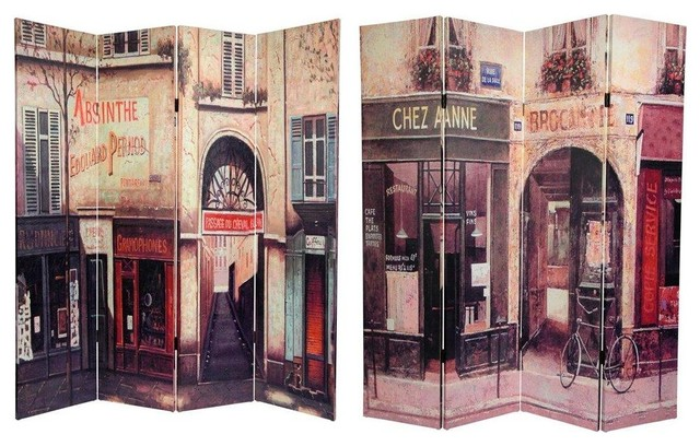 6 ft. Tall Double Sided French Cafe Canvas Room Divider eclectic-screens-and-room-dividers