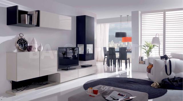 Grey Silk/Graphite Oak Wall Unit Composition 23 modern-media-storage