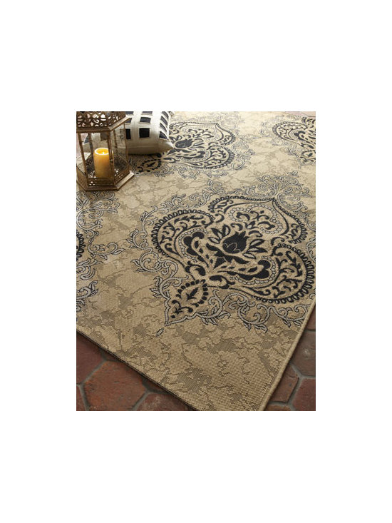 "Safavieh - Safavieh Outdoor Damask Rug, 5'3"" x 7'7"" - A gorgeous oversized damask pattern makes this rug a standout indoors or out. Made of polypropylene. Size is approximate. Imported."