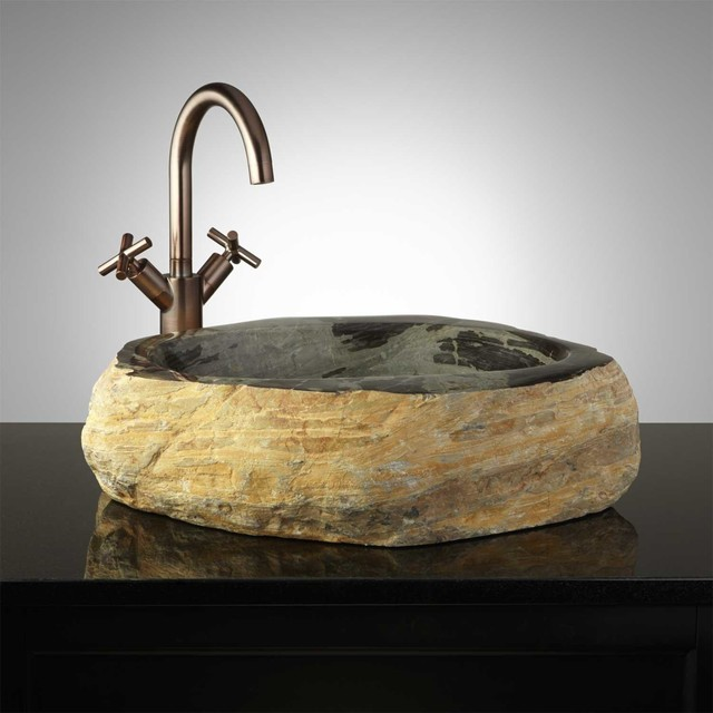 Modern Vessel Sinks : Norgren Natural Stone Vessel Sink - Modern - Bathroom Sinks - by ...