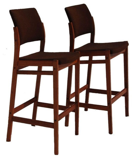 Danish Modern Teak Bar Stools - A Pair - Modern - Accent And Garden Stools - by Chairish