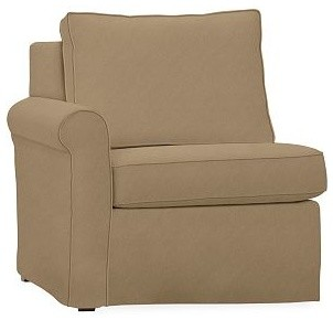 Cameron Roll Arm Left Arm Chair Sectional Slipcover, everydaysuede(TM) Light Whe traditional-chairs