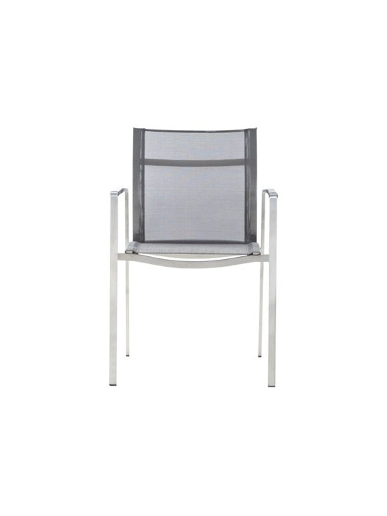 Indoor/Outdoor Stainless Steel Chair - Top of the line cast stainless steel chair with Phifer sling fabric.  This chair is durable enough to be kept outdoors and beautiful enough for indoor use.  Buy through DefySupply and save over 50%.