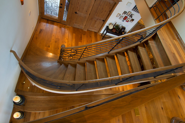 Whimsical White Oak Stair with Iron Balustrade eclectic-staircase
