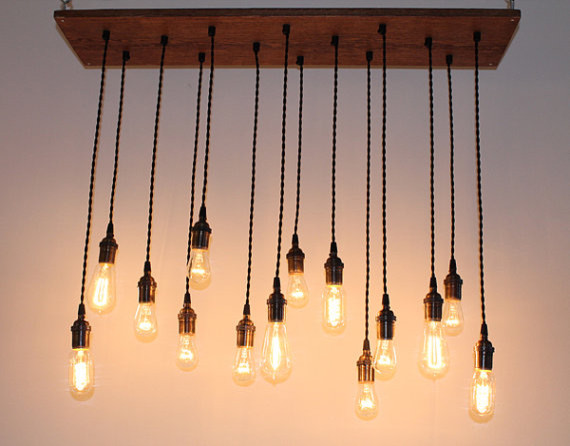 Repurposed Oak Industrial Hanging Light with Edison by urbanchandy eclectic ceiling lighting
