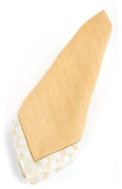 Parchment Check Hemstitch Napkin - Honey | MacKenzie-Childs eclectic-napkins