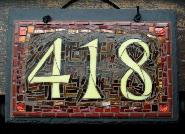 House Number Design Ideas: Mosaic House Numbers On Slate