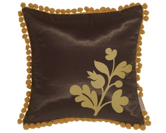 Pillow Decor - Pillow Decor - Bohemian Blossom Brown and Ocher Throw Pillow - This delightful throw pillow has a fringe of lively, ocher pom poms around the edge and a bold floral ocher print in the corner. The background color and the back of the pillow is a solid shimmering chocolate brown. Match it up with our large Bohemian Damask throw pillow and you have a wonderful contemporary pillow design story in your home.