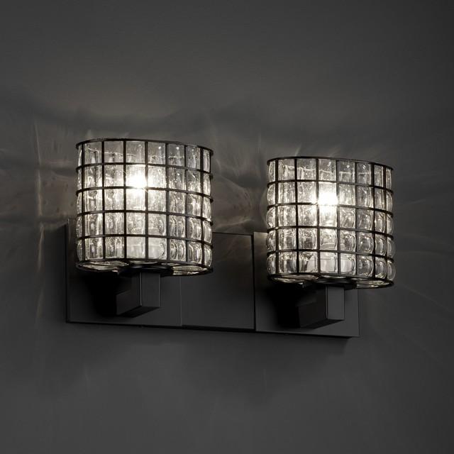 Original  TwoLight Matte Black Bath Fixture  Modern  Bathroom Vanity Lighting