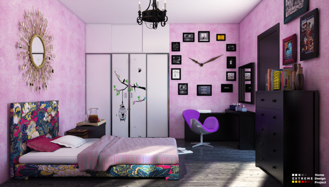 Teenager bedroom contemporary rendering other metro for Extreme bedroom designs