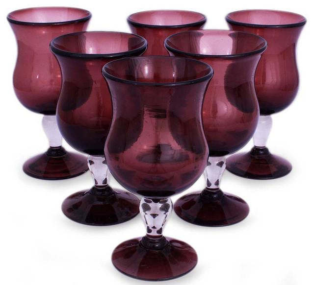 Blown Glass Goblets mediterranean-barware